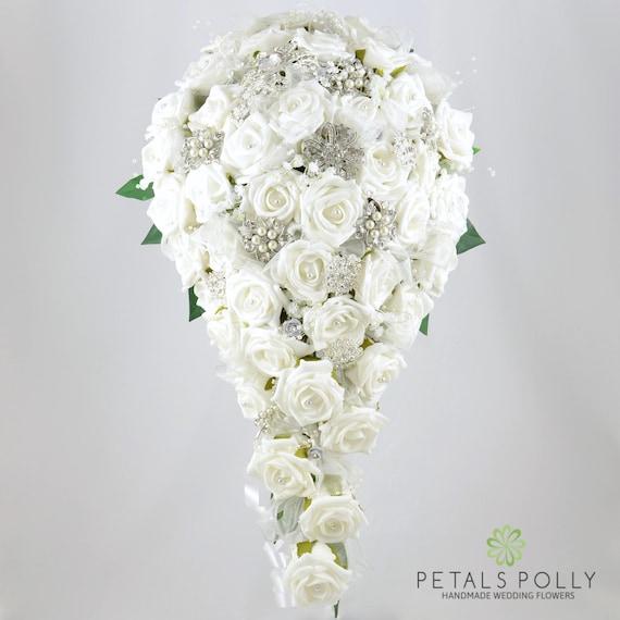 Artificial Wedding Flowers White Rose Brides Teardrop Bouquet