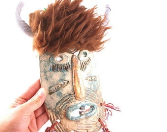 Original ceramic mask ,Ceramic Mask , Ceramic wall mask , Folk art mask , Mask sculpture, Mixed media mask