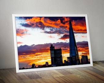 London Eye and The Shard with Incredible Sunset, London. City Skyline Large Oversized Photo Artwork