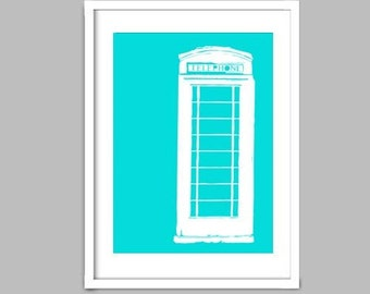 An English telephone booth in Turquoise - Fine Art Print