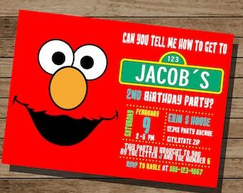 Elmo Invitation Elmo birthday Invitation Elmo Invite