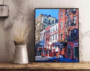 Greenwich Village New York Art, NYC Art, West Village Print, Architecture Grove Street, red white blue Painting by Gwen Meyerson