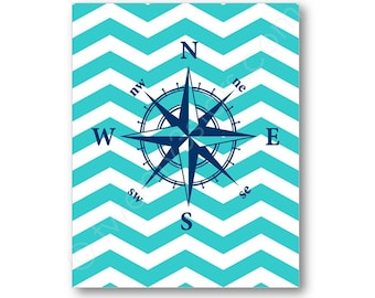 Compass Chevron Art Print, Nautical or Ocean Room Art Print, Compass Rose Canvas, Compass Rose Art, Beach House, Bedroom or Bathroom Decor