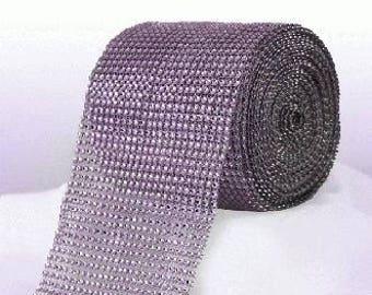 Diamante Effect  Cake Mesh Ribbon – Lilac x 1m