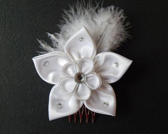 Box comb white kanzashi flower for hair (PER)