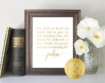 John 3:16 Foil Print // Gold Foil // Rose Gold Foil // Silver Foil // For God so Loved the World // LDS Print // LDS Foil Print