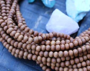 108 Beads 6mm Authentic fragrant sandalwood Beads Round Yoga Jewelry Supply from India Wood Beads Real Wood Rustic Wood