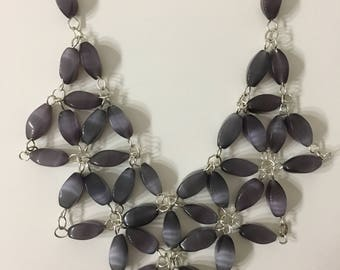 Grey Cat's Eye Beaded Necklace