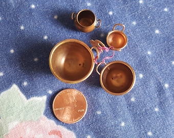 Miniature Dollhouse Copper Bowls with Handles and Jug 1:12 Scale FS