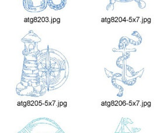 Marine-Bluework 4x4 & 5x7 ( 14 Machine Embroidery Designs from ATW ) XYZ17D
