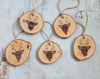 Reindeer hand painted wood slice Christmas ornament