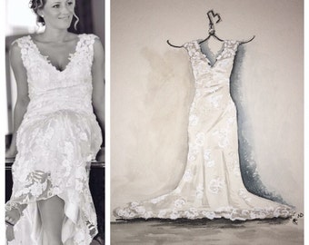 Custom wedding dress portraits (Made to order) A perfect Gift!