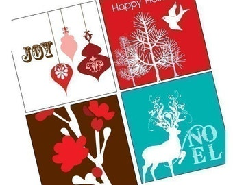 Holiday Cheer Christmas One (1x1) Inch (25mm) Square Pendant Images - Digital Sheet - Printable - Buy 2 get 1 Free - Instant Download