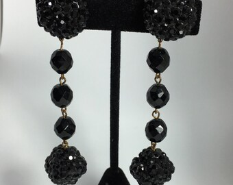 Fabulous Shoulder Dusters Long Black Pave Crystal Earrings by James Arpad, Clip on 1990's, Haute Couture