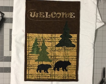 Homemade WELCOME quilted wall hanging with black bear and pine trees appliquéd wall art  #276