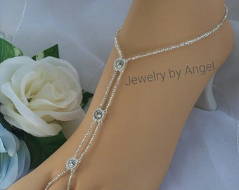 Rhinestone Barefoot Sandal - Wedding Bridal Foot Jewelry