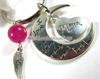 I Love You to The Moon And Back Love Keychain, Crescent Moon Keychain, Inspirational Charm Keychain, Gift for Mother, Handmade Gifts