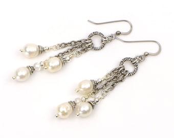 Freshwater Pearl Long Dangle Earrings, Pearl Bridal Jewelry, Bridesmaid Gift, Real Pearl Earrings, Silver Bridal Earrings, Pearl Jewelry Set
