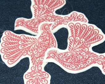 Dove Ornament, Folk Art Christmas Ornament Christmas Decor Woodland Home Decor Red Bird Illustration Rustic Winter Decor
