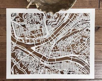 pittsburgh hand cut map