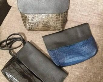 crossbody bag with crocodile embossed