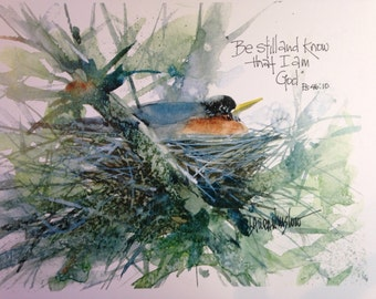 Be still, 8x10 Watercolor Print matted to 11x14