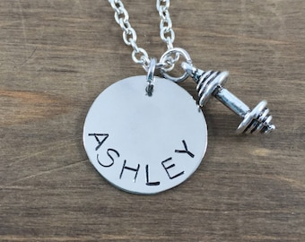 Personalized Weight Necklace - Hand Stamped Name Necklace - Fitness Lover Gift - Weight Lifter Necklace