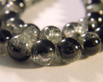 50 2 tones-8 mm - black 9 PE235 Crackle glass beads