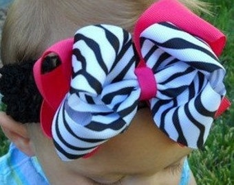 Double Layered Large Zebra Boutique Hairbow Headband..Great hairbow for Infant Toddler and Big Girl Wear