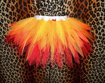 Girls Fire Tutu Halloween Fancy Dress Fire Fairy Costume Pheonix Skirt Flame Tutus