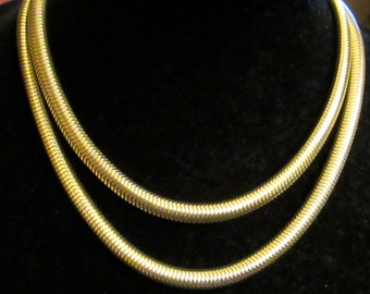 Vintage Crown Trifari Thick Snake Chain Heavy Gold Tone Necklace 36 inches