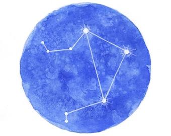 Libra Constellation Zodiac, Astrological Card Watercolor Print