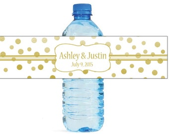 Gold Confetti on white background Wedding Anniversary Water Bottle Labels Customizable labels 2 sizes available