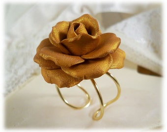 Large Gold Rose Ring - Gold Rose Jewelry, Gold Flower Ring