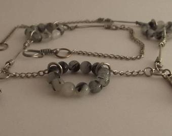 Tourmalinated quartz necklace and silver links