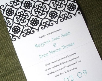 Turquoise Wedding Invitation, seal and send simple Wedding Invitations, black invitation, Modern wedding invitation, teal causal invitation