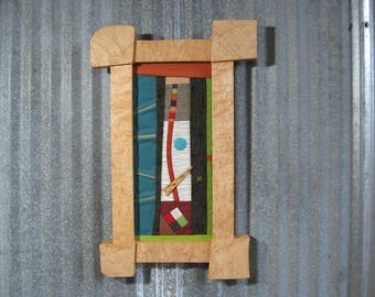 Abstract Quilt in Figured Maple Frame by pam beal and wayne walma