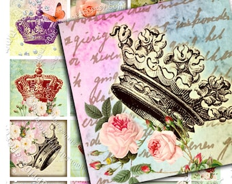 Digital collage sheet VOILA' LA FRANCE 2x2 inch square - crown paris for hang tags magnets stickers - instant download collage - qu227
