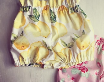 Lemon Bloomers/ Baby Girl Summer Outfit/ Baby Girl Bloomers and Headband/ Toddler Summer Outfit/ Newborn Summer Outfit, Baby Bloomers