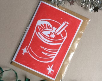 Mulled Wine - Blank Christmas Linoprint Greeting Card in Red with Vegan Envelope - 100% Recycled Paper and Biodegradable Packaging