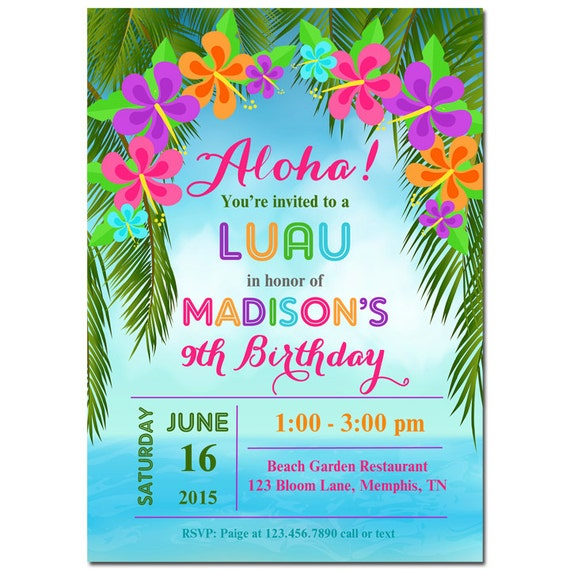 Luau invitation printable or printed with free shipping for Luau invitations templates free