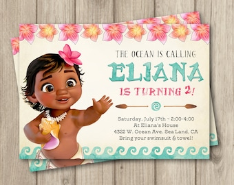 MOANA BIRTHDAY INVITATION, Baby Moana Invitation, Baby Moana Birthday Party Invitation, Girl Moana Party, Digital Invitation 5x7