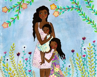 Mother and Child Painting, Mother Daughter Painting Nursery Wall Art, Black African American  Mother Dark Skin Mother and Child Art Print