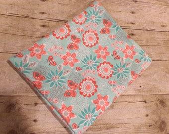 Aqua Floral Receiving Blanket - Cotton Flannel Swaddle Blanket - Baby Girl Receiving Blanket - Newborn Flannel Blanket - Baby Photo Prop