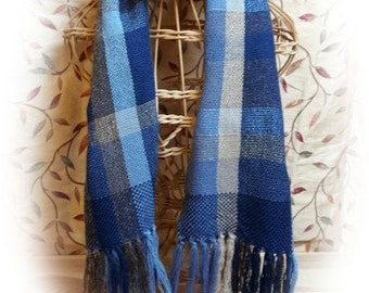 Handwoven Stormy Tabby Plaid Scarf
