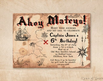 Pirate Treasure Map Printable Invitation - 5x7 Customized - Kids Nautical Antique Fairy Tale Imaginary Storybook Boat Island