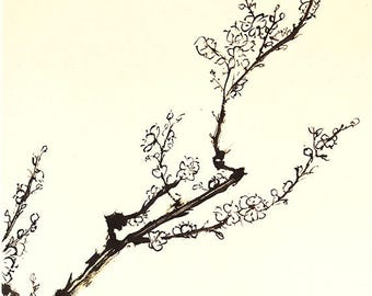 Branch of plum blossom. Summi-e ink and rice paper.