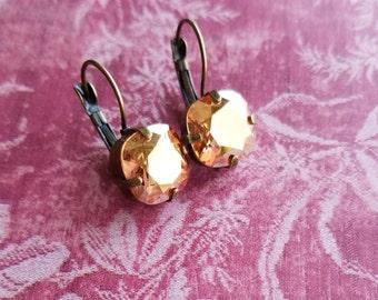 Sun burst vintage styled swarovski earrings