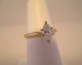 14K Yellow Gold Marquise-cut Diamond Solitaire Engagement Ring-Size 5.25 #2761