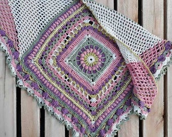 Flower Fandango Flavor - PDF Instant Digital Download Crochet Pattern Shawl Afghan Square